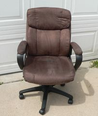 Brown Suede Fabric Office Chair with Padded Armrests