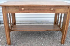 Antique Oak 1 Drawer Library Table