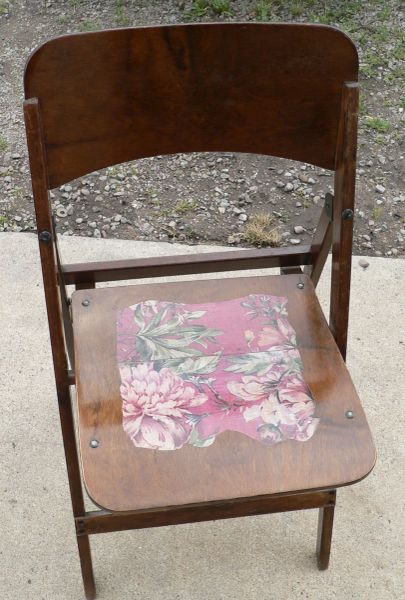 Antique Fold Up Wood Chair