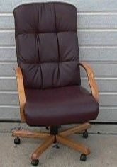 Oak Hi-Back Maroon Leather Office Chair with Arms