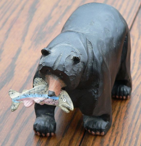 Black Bear with Rainbow Trout Figurine