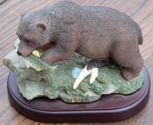 Alaska Grizzly With A Fish Figurine On Wood Base