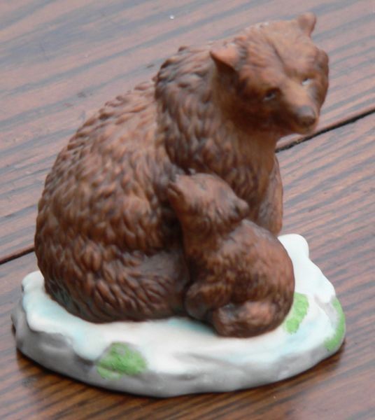 Brown Bear Mama with Cub Figurine