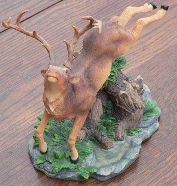 Elk Jumping Figurine
