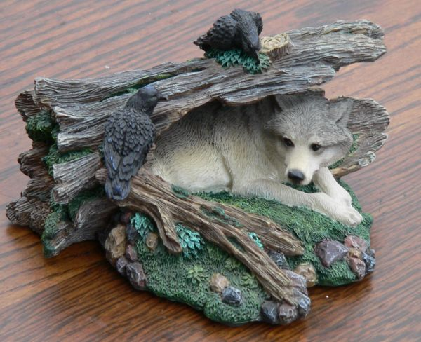 Wolf In Log Figurine By Living Stone