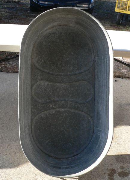 Vintage Original Wheeling Galvanized Oval Wash Tub