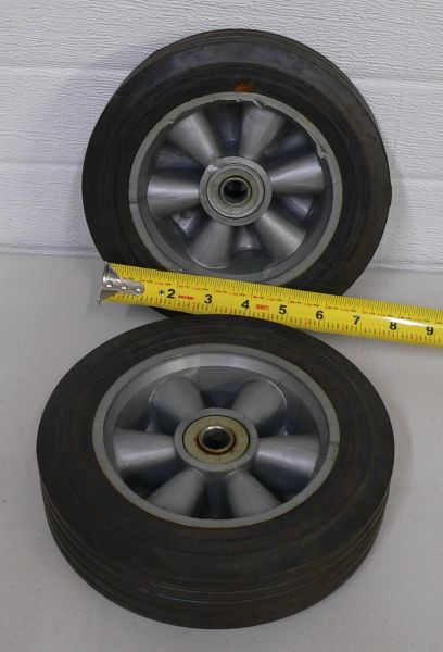 "Pair of 7"" Wide Tires x 5.5"" Rims with Grey Plastic Spokes"