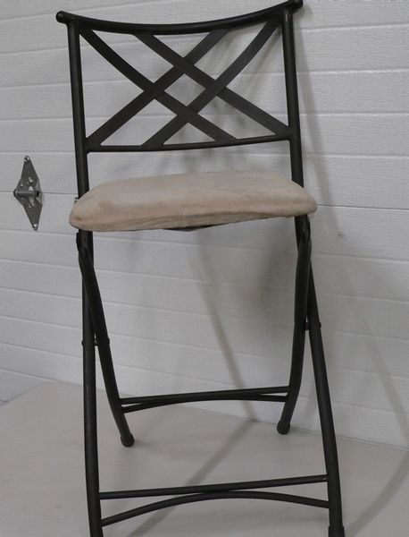 Black Metal folding Chair with Tan Cushion