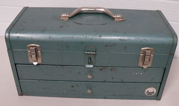 Vintage Waterloo Metal 2 Drawer Tool Box with Lock Bar