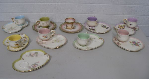 9 Matching Tea Cup and Lunch/Snack Plate Sets