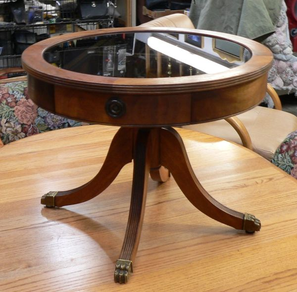 Antique Round Claw Foot 2 Drawer Wood Side Table