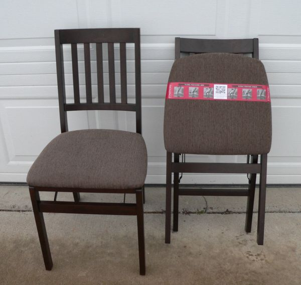 Stakmore Slatback Fold Up Wood Chairs-Like New