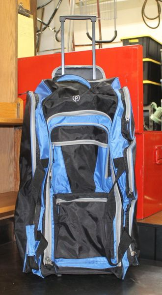 Blue/Black Nylon Rolling Carry Pack with Pull Out Handle
