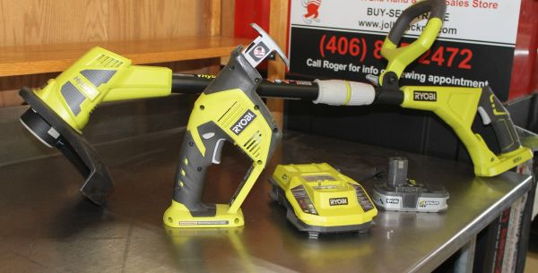 4 pc Ryobi Hybrid 18v. Cordless Weed Trimmer and Reciprocal Saw