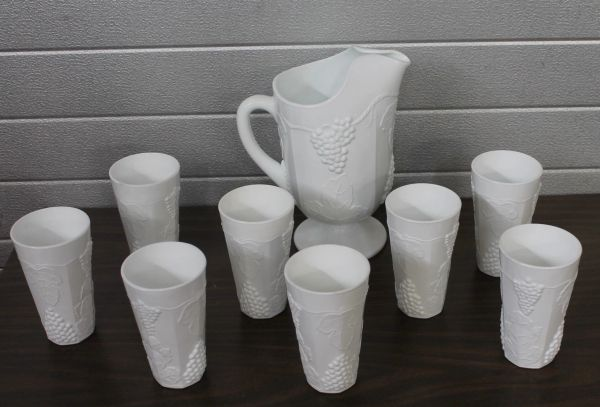 Milk Glass? White Pitcher and 8 Glasses