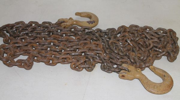 "19 Foot Long Heavy Duty 5/16"" Chain with 2 5.5"" USA Hooks"