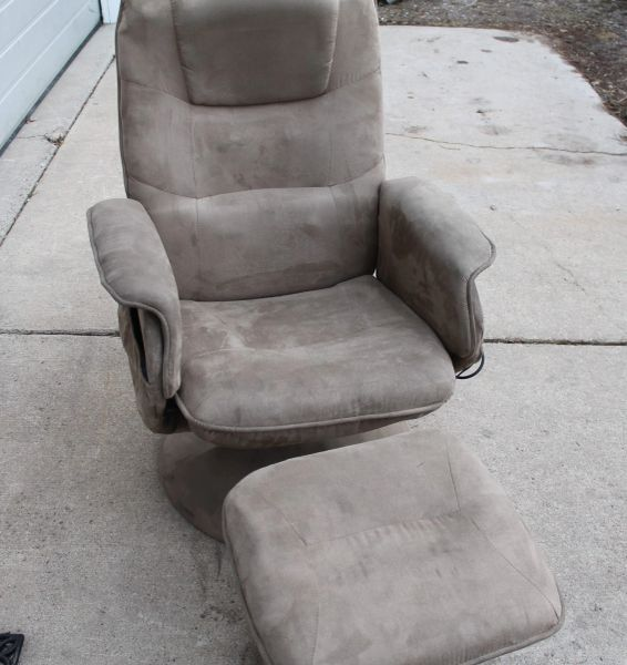 Tan Swivel Rocker with Foot Stool