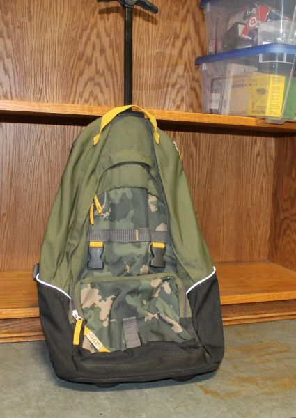GAP Camo Backpack with Wheels and Pull Out Handle