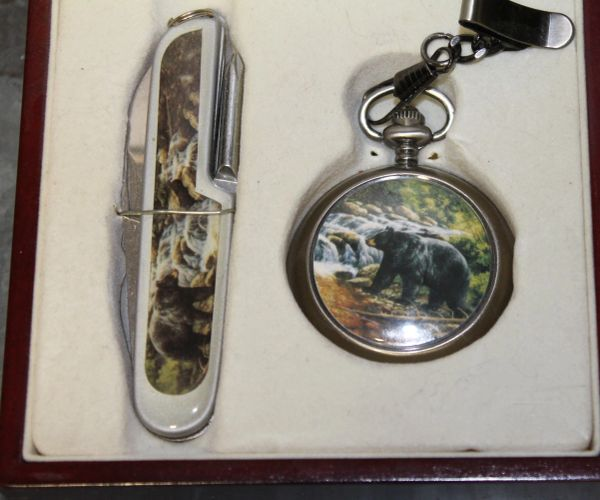 "3 1/2"" Fold Blade Knife and Pocket Watch"