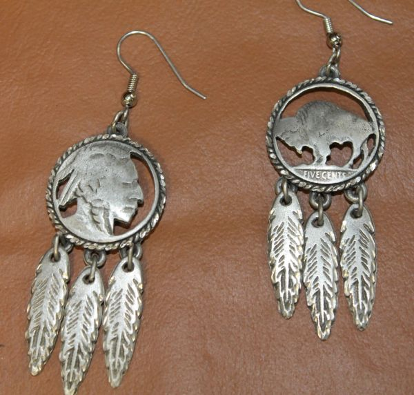 Silver Buffalo/Indian Head Earrings