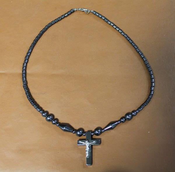 Black Onyx? Beaded Necklace with Jesus on Cross