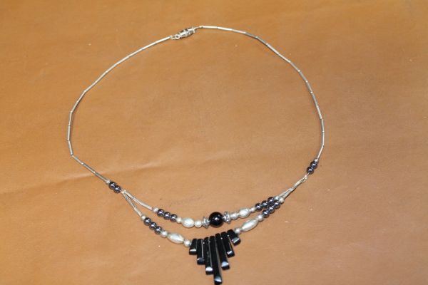 Beaded Silver/Black Necklace