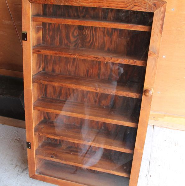 Custom Made 7 Section Wood Display Cabinet with Glass and Wood Door