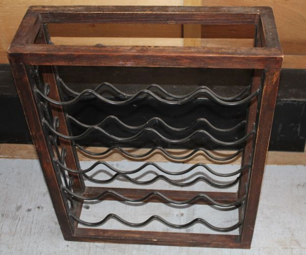 20 Bottle Metal and Wood Wine Rack