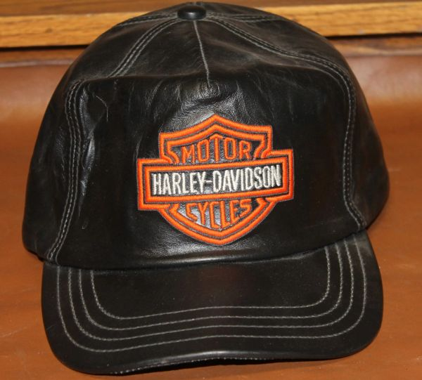 Black Leather Harley Davidson Hat