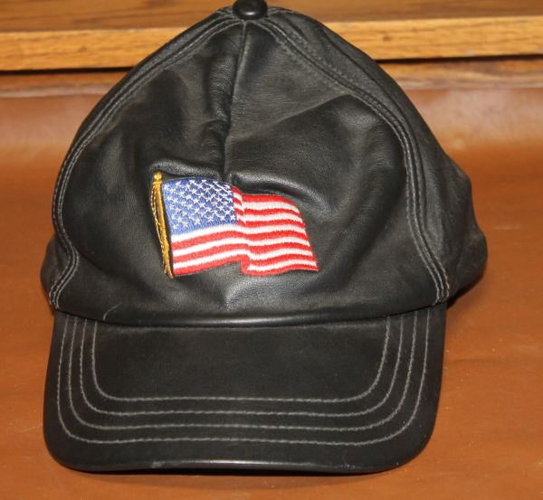 Black Leather American Flag Hat