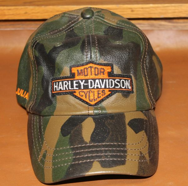 Camo Leather Harley Davidson Hat-M. Jullian