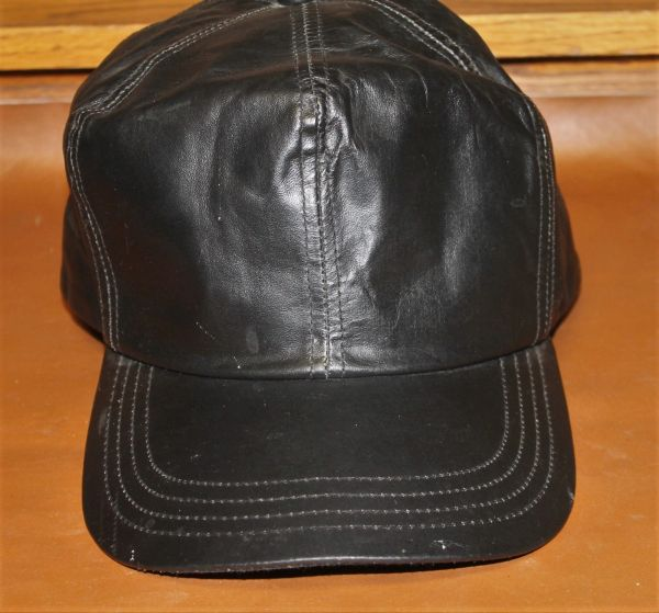 Black Leather Hat-Made in the USA