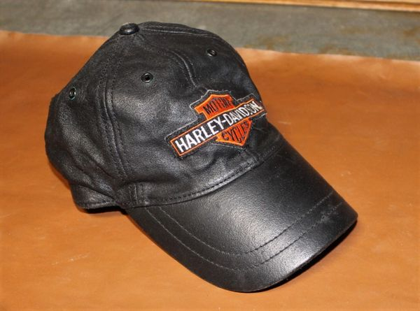 Black M.Jilian Leather Harley Davidson Hat