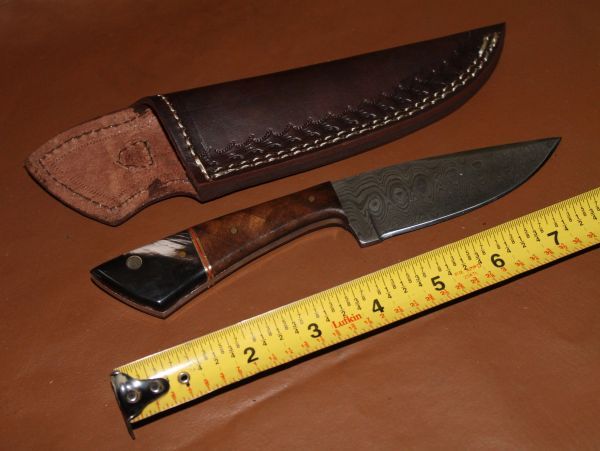 """8"""" Knife with 4"""" Damascus Steel Blade and Leather Sheath-Like New"""
