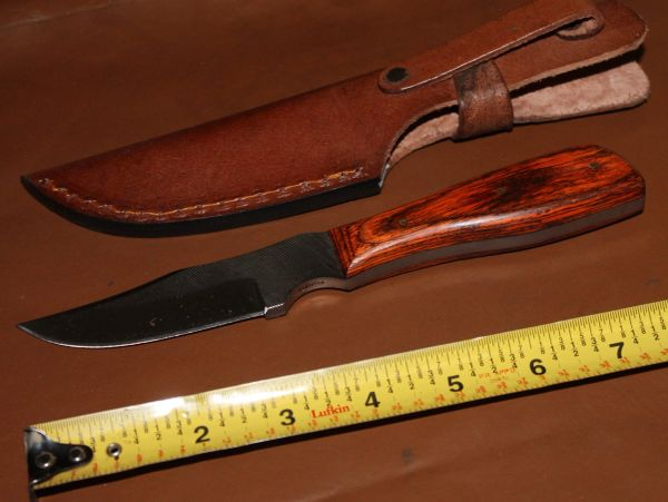 """8 1/2"""" Laminated Handle Knife with 4"""" File Blade and Leather Sheath"""