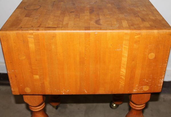 Vintage Solid Maple Rolling Butcher Block