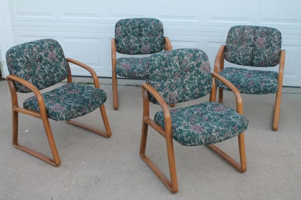 Multi Green Color Floral Conference/Office Arm Chairs With Oak Sides