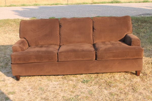 Brown 7 Ft. Velour Sofa/Couch