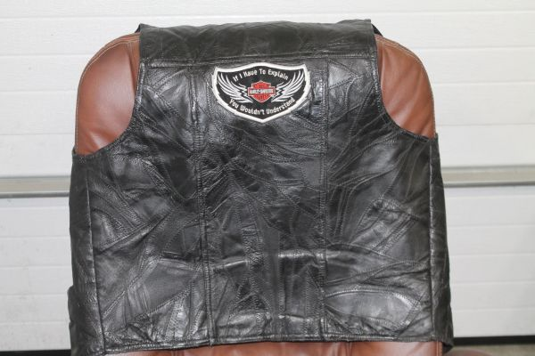 Navarre Leather Co. Black Leather Vest Size Large