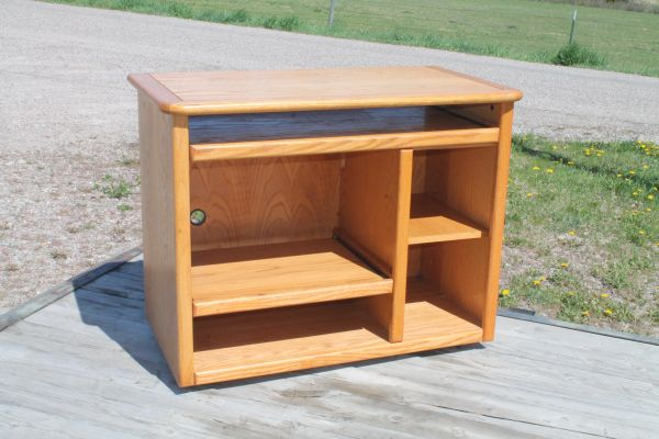 Oak Trim Computer Stand On Casters