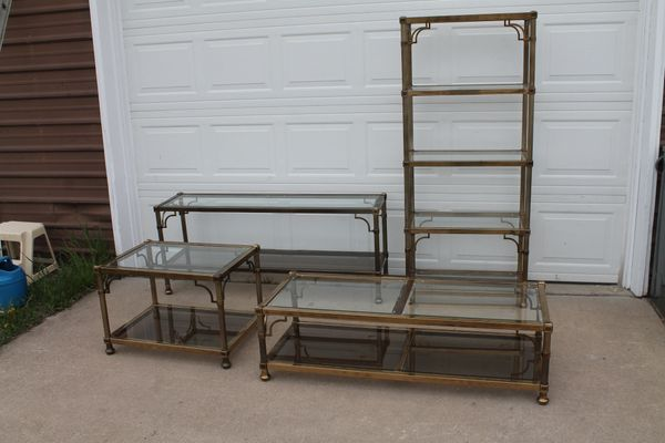 4 Pc.Fancy Brass And Glass Living Room Ensemble