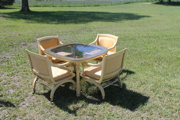 Quality Built Glass Top Table & 4 Chairs With Rollers
