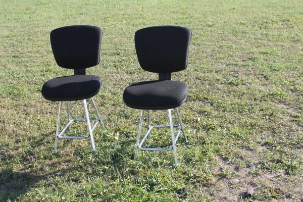 H.D. Chrome Swivel Stools With Black Pads
