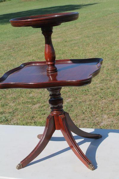 Vintage 2 Tier Clawfoot Pedestal Stand