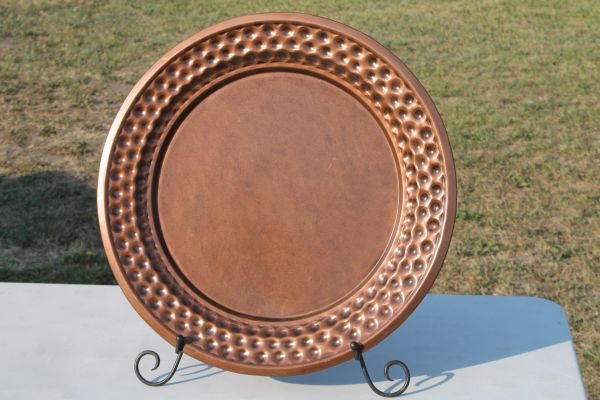 24'' Copper Platter With Metal Stand