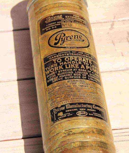 Pyrene #U Vintage 1940s Brass Fire Extinguisher