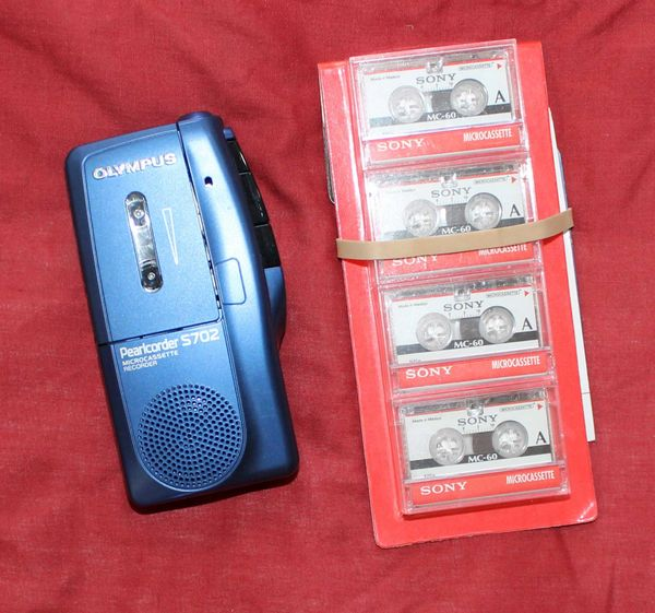 Olympus Pearlcorder S-702 Microcassette Recorder w/ 4 Cassettes