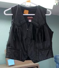 USA Hillside Leather Fringe Vest-Small