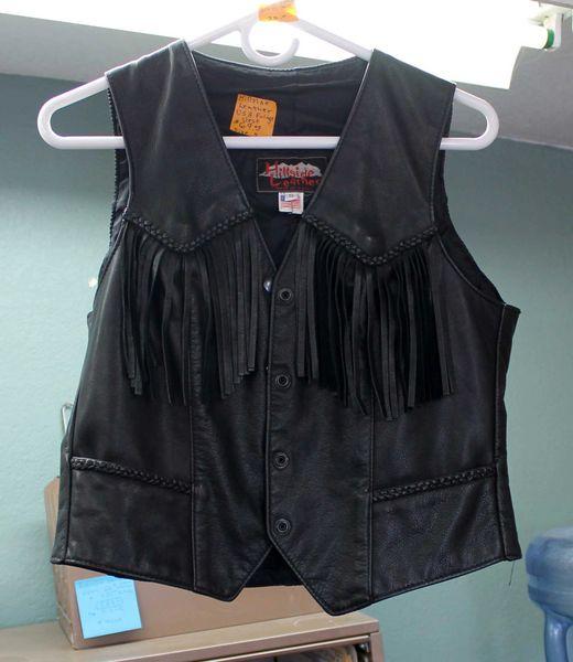 USA Hillside Leather Fringe Vest-Small