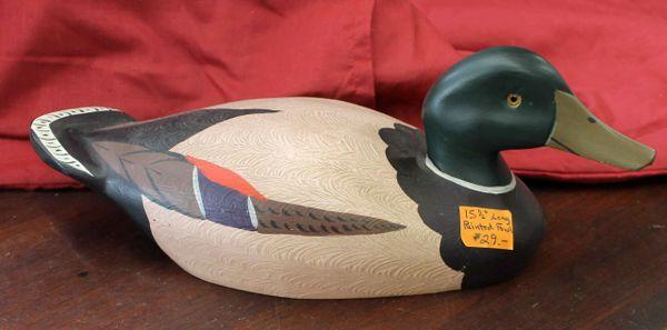 "15 1/2"" Painted Wood Fowl-Mallard Duck"
